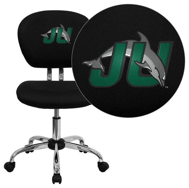 Jacksonville University Dolphins Black Mesh Task Chair with Chrome Base modern-office-chairs