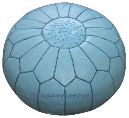 MOROCCAN LEATHER POUF SKY BLUE floor-pillows-and-poufs