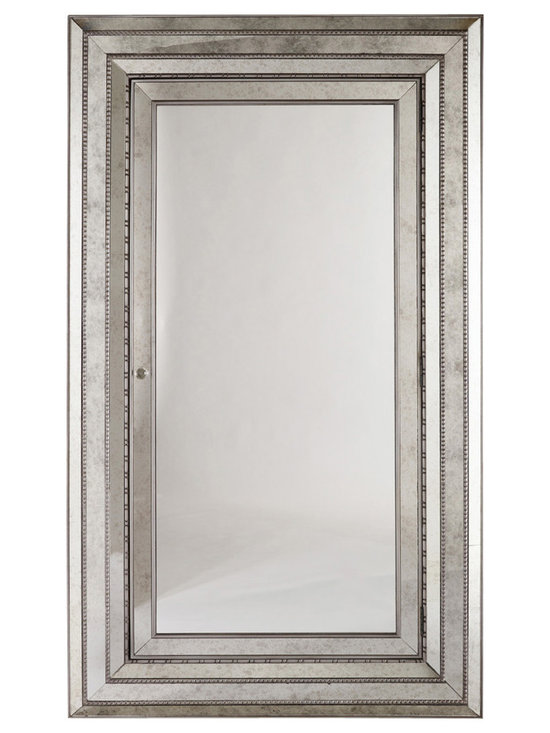 Hooker Furniture - Glamour Floor Mirror - At almost seven feet tall, this floor mirror attaches to the wall for stability, striking a tall and glamorous pose in your bedroom or dressing area. A glass knob opens a door to a felt-lined interior with 42 pouches for earrings or rings and 20 hooks for bracelets and necklaces.