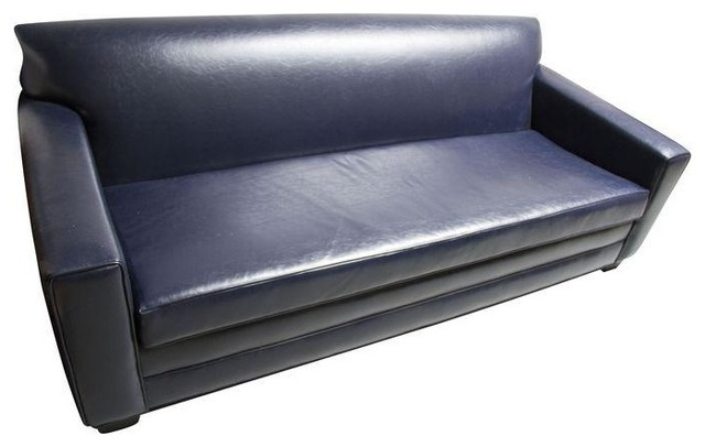 pre owned navy blue leather sofa modern sofas