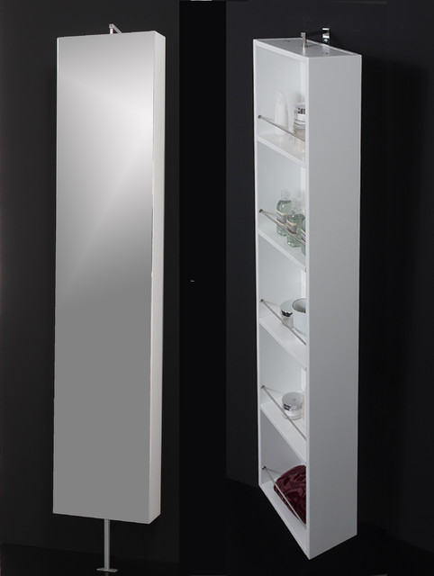 Powder room. Mirror rotating cabinet - Contemporary - Display And Wall Shelves - miami - by ...