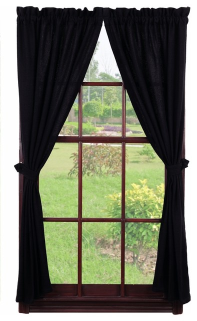 Burlap Panel, Black, Plain rustic-curtains