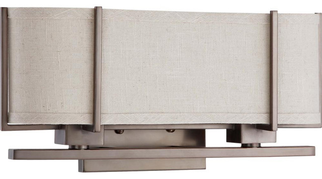Vanity Light Fabric Shade : Nuvo Lighting 60-4044 Portia ES 2-Light Sconce with Khaki Fabric Shade - Transitional - Bathroom ...
