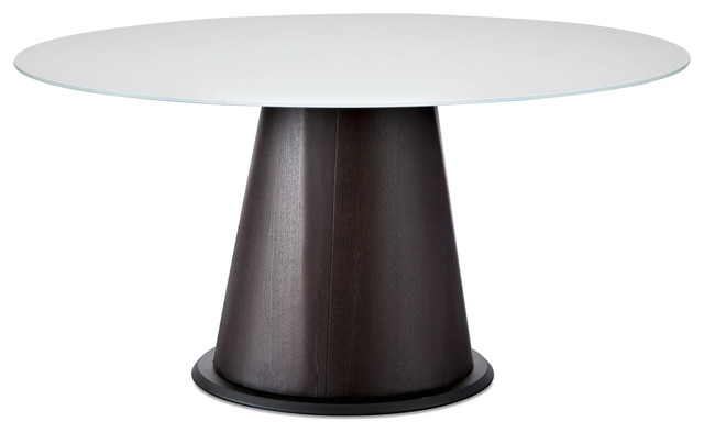 Round Dining Table With Extra White Glass Contemporary Dining Tables