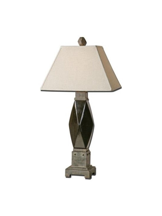 Uttermost Verdura - Ceramic base finished in a metallic mocha bronze glaze with rustic bronze details. The rectangle, straight sided shade is an oatmeal linen fabric with natural slubbing.