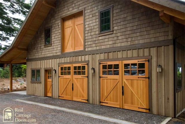 Classic z brace carriage doors with side entry loft door for Garage side entry door