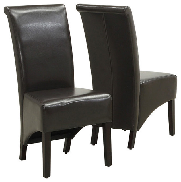 Monarch specialties 1776br parson chair in dark brown for Leather parsons dining chairs