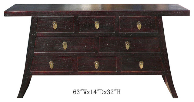 Chinese Narrow Multiple Drawers Altar Console Table - Asian - Side Tables And End Tables - san ...