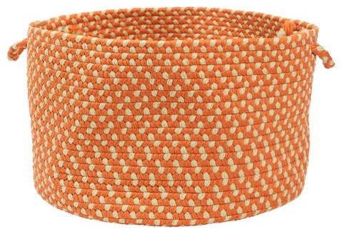 Montego Braided Utility Basket, Tangerine modern-baskets