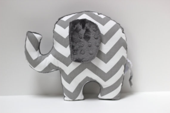 Chevron Elephant Nursery Pillow Toy By LilKingdom contemporary baby toys
