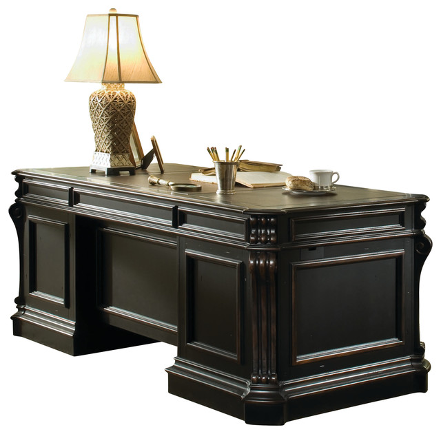 Telluride Wood Panel Executive Desk 563 - Traditional - Desks And Hutches - by Masins Furniture