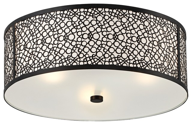 "Contemporary Black Circle Drum 15 3/4"" Wide Flushmount Ceiling Light contemporary ceiling lighting"