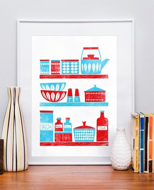 Kitchen Art Prints: Mid Century Modern Inspired A3