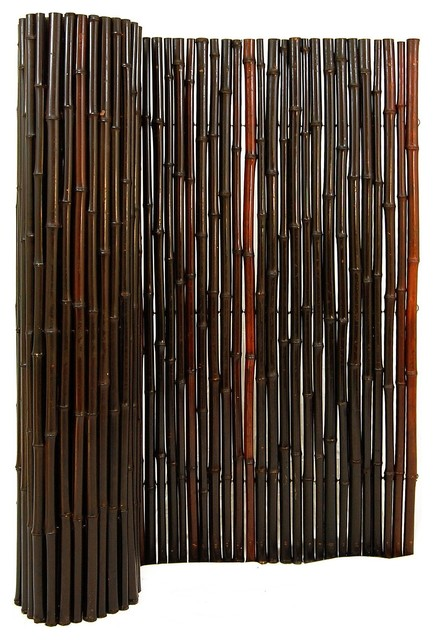 """Stained Mahogany Rolled Bamboo Fence 1"""" D X 6' H X 8' L ..."""