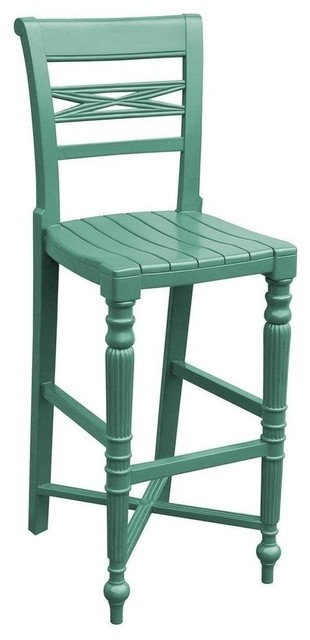 New Trade Winds Bar Stool Blue Painted Traditional Bar