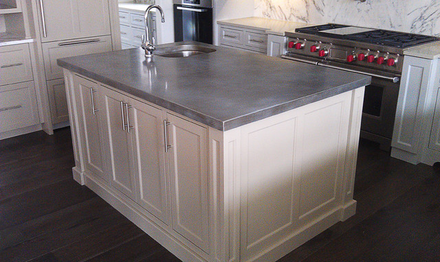 Cast zinc kitchen island chicago traditional kitchen for Zinc kitchen countertop