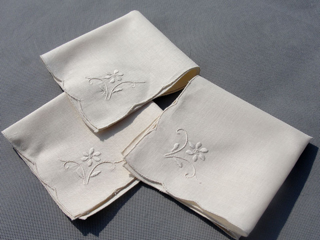 Ecru handmade embroidery linen tea napkins traditional