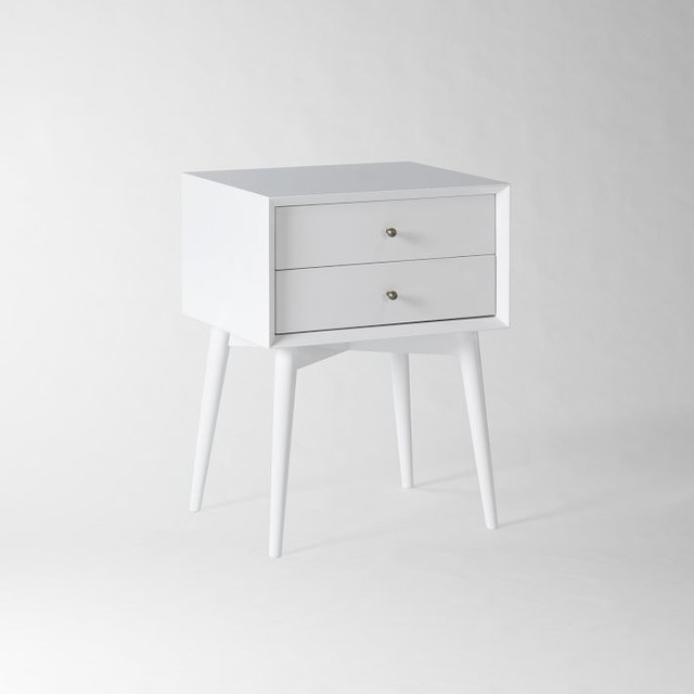 Midcentury Nightstand, White midcentury-nightstands-and-bedside-tables