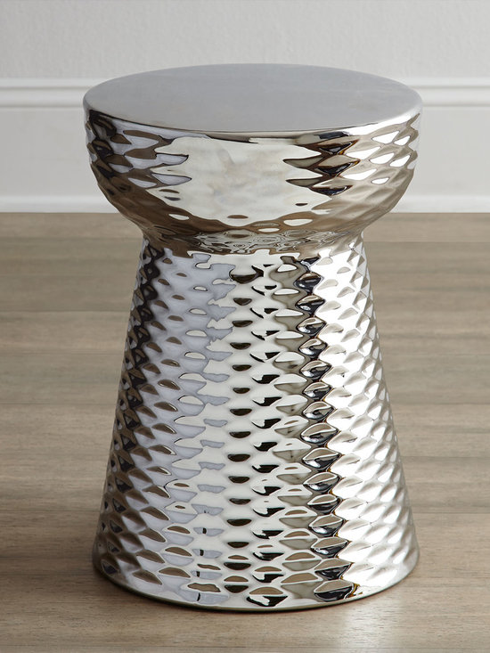 Horchow - Chrome-Finish Garden Stool - With a shiny chrome finish, this honeycomb-patterned garden stool would make a charming side table in any room in the house.