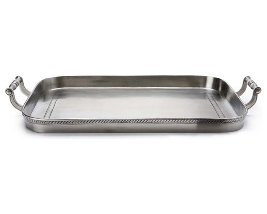 "Match - Match Gallery Tray with Handles - This Match tray features a gorgeous rim detailing and handles and makes for an elegant serving or display piece. Match pewter is handmade in Italy and is made of the finest pewter available. Measures 21.4"" x 15"" W x 1.3"" H."