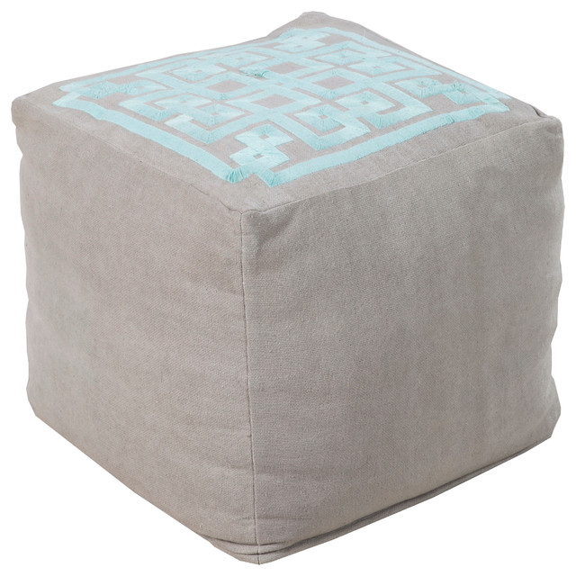 Gray & Aqua Square Pouf - Floor Pillows And Poufs - chicago - by Belle and June