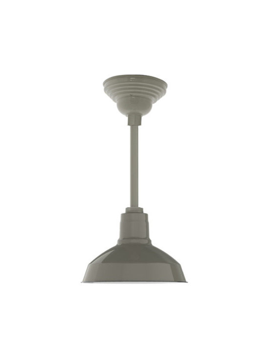 Barn Light Electric - Benjamin® Dino Porcelain LED Stem Light - The classic RLM warehouse shade of the Benjamin™ Dino Porcelain Stem Mount Light gets an ugrade with the very latest in LED technology from Cree, the nation's leading innovator in LED lighting. You still get a hand spun shade crafted from commercial grade steel and coated with three layers of porcelain enamel glass. This high gloss finish will never fade or corrode no matter how harsh the environment. Add to that the high efficiency, environmentally friendly nature of the LED module and you get an American made ceiling light with the early 20th century styling you love plus warm, bright white light that saves on energy and maintenance costs. Customize to suit any residential or commercial lighting decor. Free shipping!