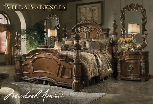 michael amini classic chestnut bedroom set villa valencia collection