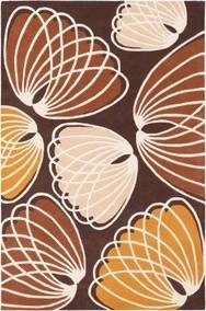 Inhabit   Lotus Wool Rug in Chocolate/Persimmon modern-rugs