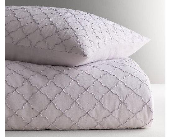 Embroidered Lattice Voile Duvet Cover, Lavender -