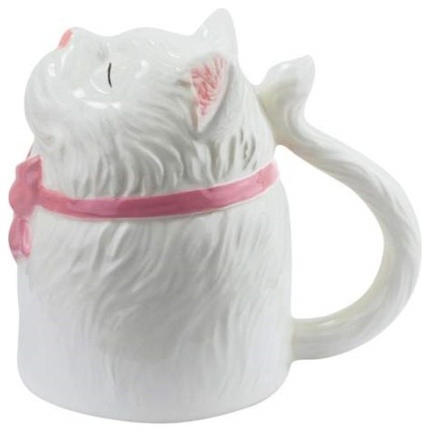 5 Inch Classy White Persian Cat with Pink Bow Looking up Coffee Mug eclectic-mugs