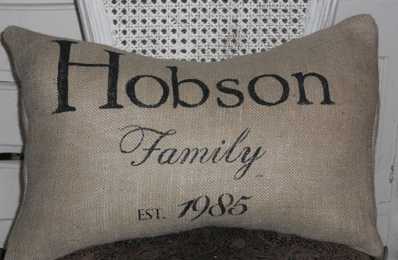 Custom Family Burlap Pillow Slip By The Lettered Home traditional-decorative-pillows