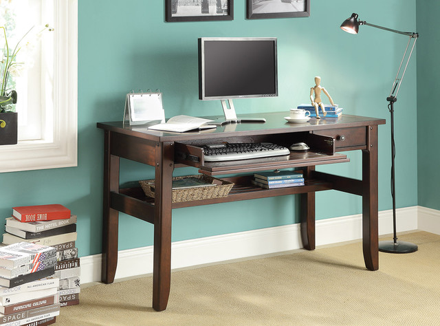 Computer And Writing Desk With Pullout Keyboard Drawer