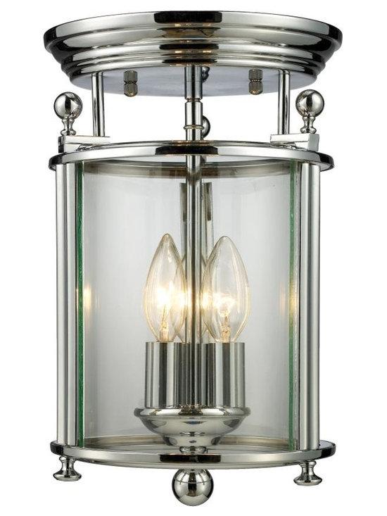 Joshua Marshal - Three Light Chrome Clear Glass Foyer Hall Semi-Flush Mount - Finish: Chrome