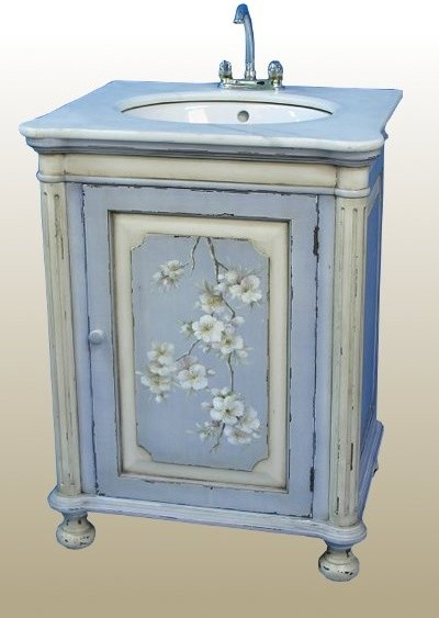 Blue Hand Painted Sink Unit Traditional Bathroom Vanities And Sink Consoles Other Metro