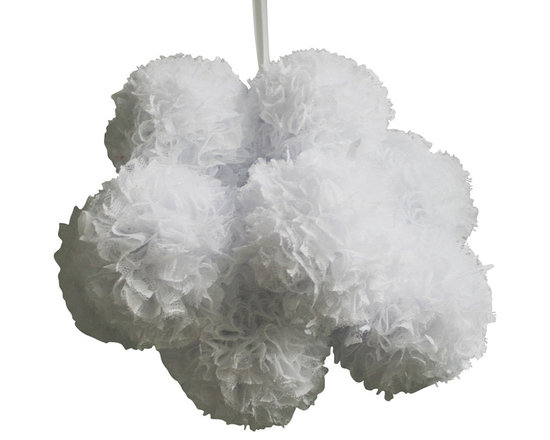 Cloud Lace Pom Pom Mobile - This handmade pom pom mobile will brighten up your baby's nursery. Great to hang above a baby's crib or changing table.