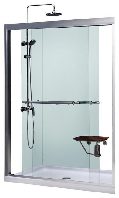 Duet Frameless Bypass Sliding Shower Door and SlimLine Shower Base contemporary-showerheads-and-body-sprays