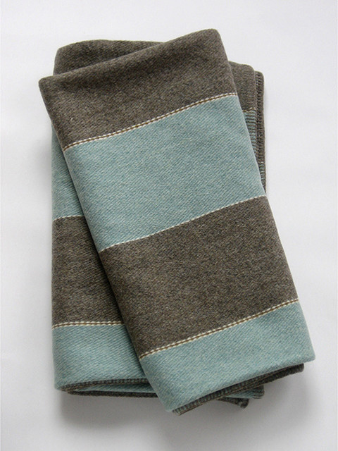 Eleanor Pritchard - Duck Egg Stripe Woolen Blanket modern throws