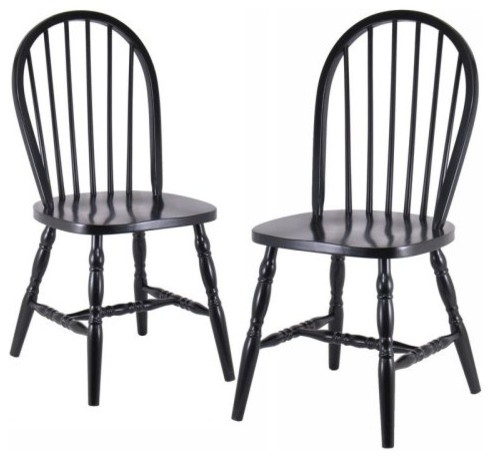 Winsome Windsor Black Chairs with Carved Leg - 2 Chair Set modern-dining-chairs