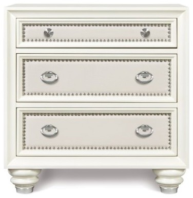Diamond Wood 3 Drawer Nightstand - High Gloss White modern-nightstands-and-bedside-tables