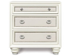 Diamond Wood 3 Drawer Nightstand - High Gloss White modern nightstands and bedside tables