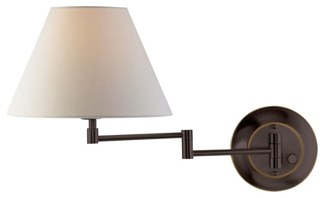 Traditional Holtkoetter Old Bronze White Shade Swing Arm Wall Lamp traditional-wall-lighting
