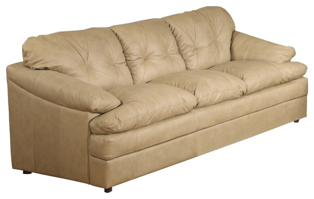 Traditional British Isles Olmec Tufted Beige Leather Sofa