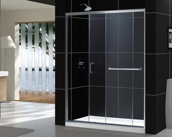 """DreamLine Infinity-Z Sliding Shower Door 56"""" - 60"""" SHDR-0960720 - The INFINITY-Z sliding tub or shower door delivers a classic design with a fresh attitude. Features of convenience like a handy towel bar and fast release wheels that make cleaning the glass and track a cinch are combined with the modern appeal of a frameless glass design. Choose the simply sophisticated style of the INFINITY-Z sliding tub or shower door."""
