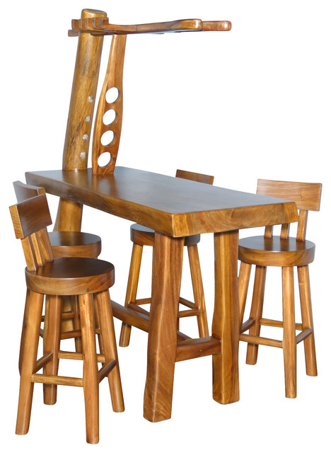 Natural Rustic 5 Pc Bar Table Set W 4 Bar Stools Rustic Indoor Pub And Bistro Sets By Mbw