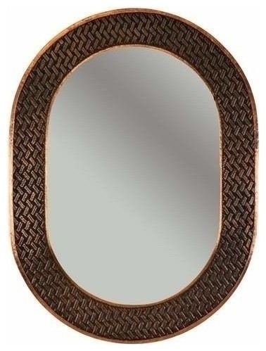 35 oval copper mirror w decorative braid design rustic for Fancy oval mirror
