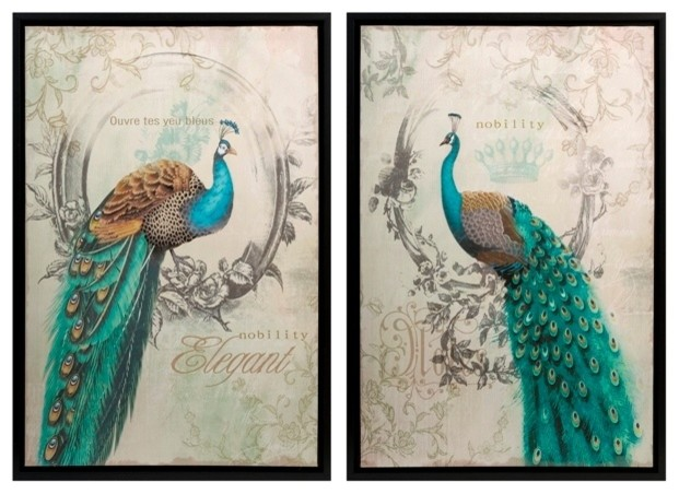 Old World French Elegance Panache Peacock Art Set Of 2