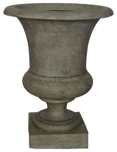 Cast Stone Medici Urn Granite Finish Traditional Outdoor Decor By Home Depot