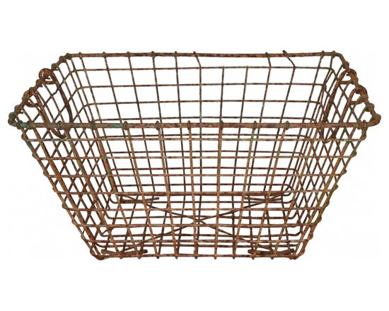 Oyster Basket - Large and rustic, French vintage wire Oyster basket ...Found at antique faire in Point L'Eveque, France.