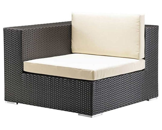 Cartagena Corner Chair By Zuo Modern - The Cartagena Corner Chair with Cushion combines exceptional comfort with versatility. Endless seating arrangements can be formed by combining the armless chair. This modern corner chair can be used alone or combined with other Cartagena pieces to make your own unique seating area. The clean lines and contrasting color keep it looking fresh. Seat and back cushions are covered in waterproof polyester. Aluminum frame has a synthetic weave that adds texture.
