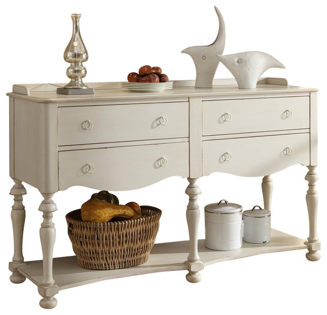 Riverside Furniture Placid Cove Server in Honeysuckle White - Transitional - Buffets And ...